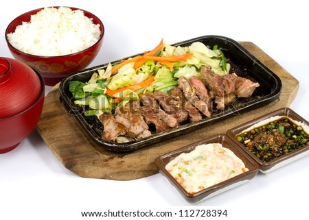 Japanese food style beef grilled the plate on white background