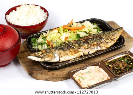 Japanese food style , Saba fish grilled set with rice on white background