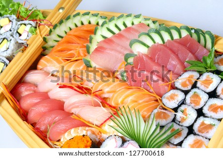 Japanese Food, susgi, sashimi, temaki, wasabi, salmon - stock photo