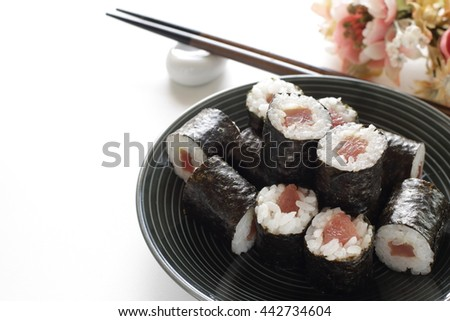 Japanese food, Tekkanmaki sushi roll - stock photo