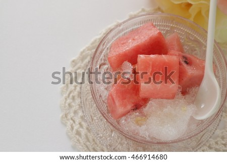 Japanese food, watermelon on shaved ice with honey