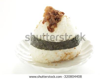 Japanese food, Yakiniku Onigiri BBQ beef rice ball - stock photo