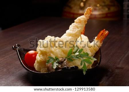 Japanese fried tempura with shrimp - stock photo