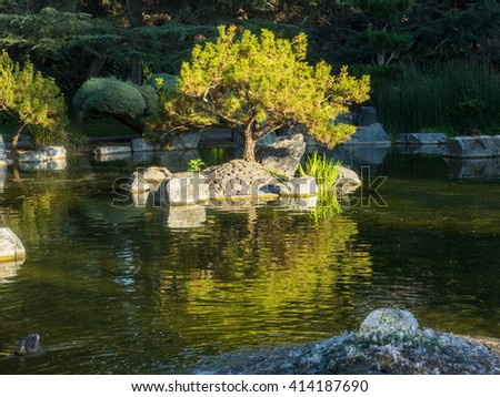 Japanese Friendship Garden is a walled section of Kelley Park in San Jose, California, USA. Dedicated in October 1965, it is patterned after Japan's famous Korakuen Garden in Okayama. - stock photo