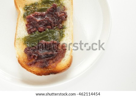 Japanese fushion toast, tea jam and azuki