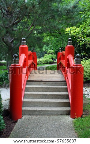 japanese garden bridge in red