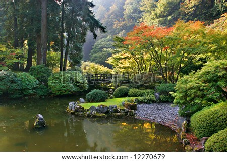 Japanese garden in autumn color - stock photo