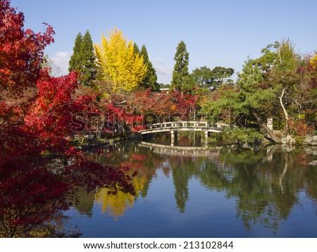Japanese garden of Eikando Zenrinji temple in autumn, Kyoto, Japan. - stock photo