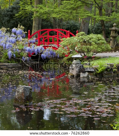 Japanese garden: typical view - stock photo