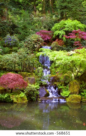Japanese Garden Waterfall - stock photo
