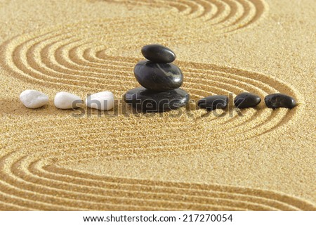 Japanese garden with rocks in sand and yin and yang