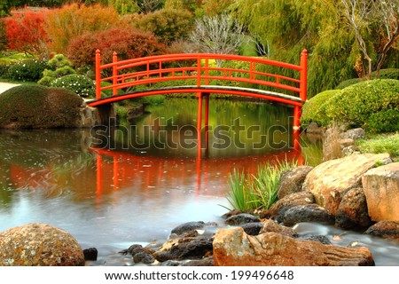 Japanese gardens in carnival of flowers town Toowoomba darling downs autumn colour - stock photo