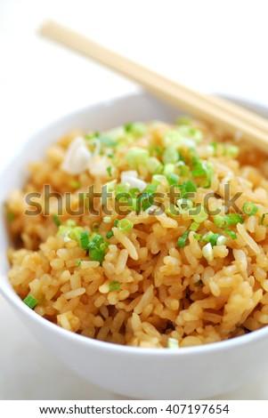 japanese garlic fried rice - stock photo