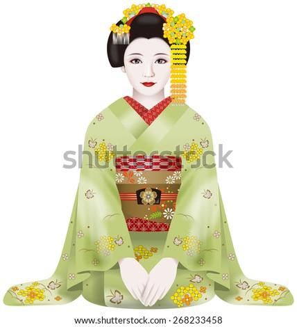 Japanese geisha. Greetings. / Fashion & ornamental hairpin of March. - stock photo