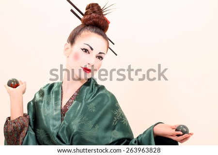 Japanese Geisha woman with Temari balls