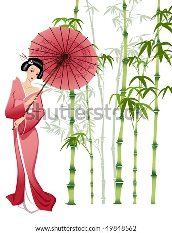 japanese girl in traditional clothes - stock photo