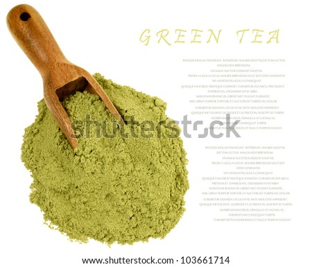 Japanese green  powder matcha tea isolated on white. Copy space for your text. - stock photo