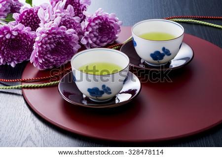 Japanese green tea - stock photo