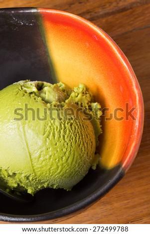 Japanese green tea flavored ice cream scoop - stock photo