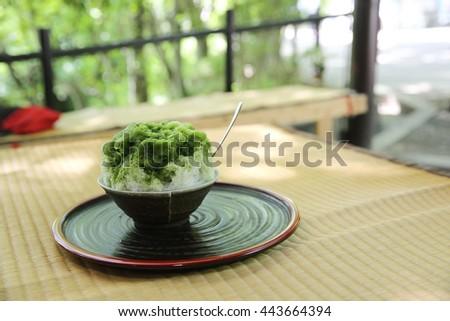Japanese green tea shave ice - stock photo