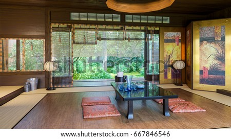 Japanese Interior Modern Japan Interior Design Stock Illustration ...