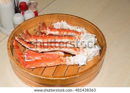 japanese king crab legs in wooden bucket,buffet in hokkaido