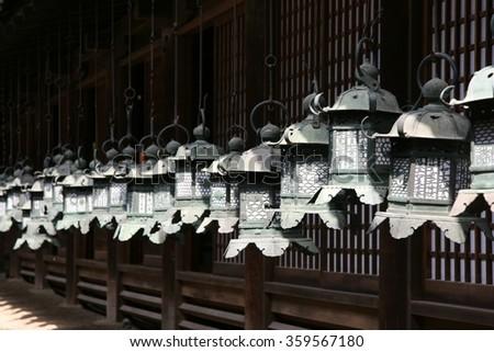Japanese lanterns, Kyoto - stock photo