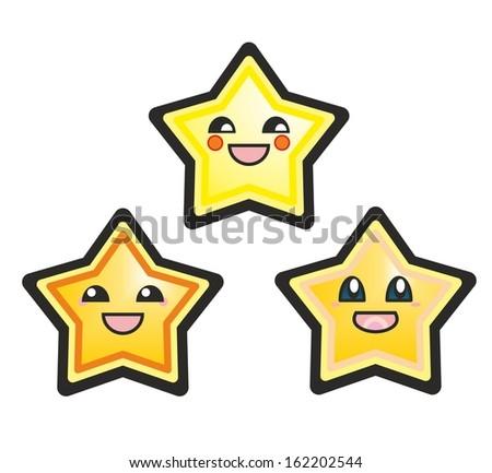 Japanese manga stars hand drawn illustration isolated on white background. Cute cartoon happy yellow stars or starfish with smile and black eyes. - stock photo