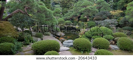 Japanese Maple in garden with lake panorama - stock photo