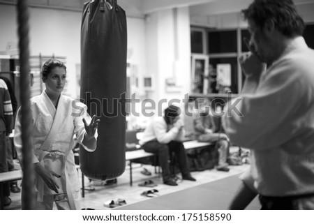 Japanese martial art - aikido practice - stock photo