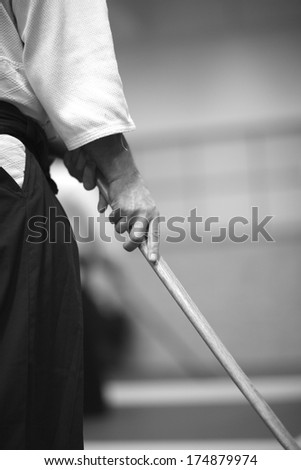 Japanese martial arts - practice with bokken - stock photo