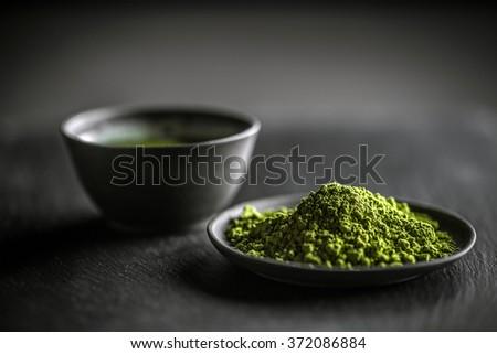Japanese matcha green tea and tea powder - stock photo