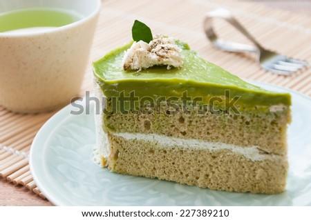 Japanese Matcha Green tea cake, tea and cake - stock photo
