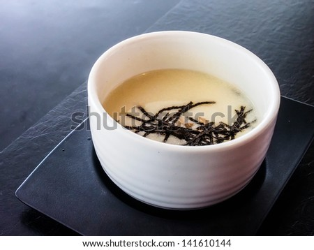 Japanese miso soup with seaweed - stock photo