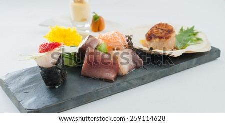 Japanese modern cuisine in chef's table course - stock photo