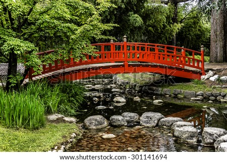 Japanese motives in beautiful Albert Kahn Park. Boulogne-Billancourt, Paris.  - stock photo