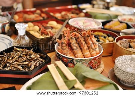 Japanese New year foods - stock photo