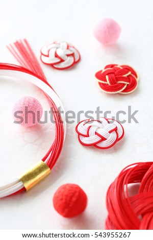 Japanese new year ornaments on japanese paper background