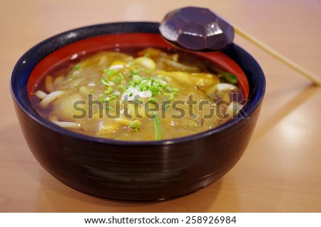 Japanese noodle with curry soup - stock photo