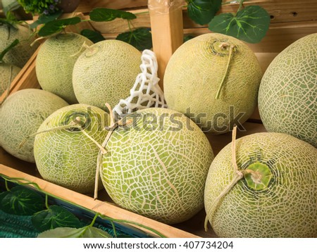 Japanese organic green melons in the fruit crate. - stock photo