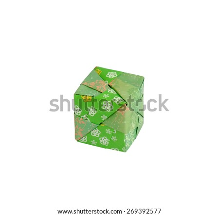Japanese origami paper square box on white background