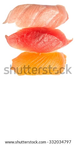 Japanese otoro sushi, red tuna sushi and salmon sushi over white background