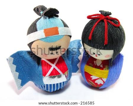 Japanese paper dolls couple..:) - stock photo