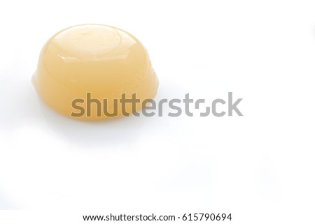 Japanese peach flavor jelly on white