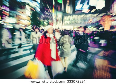 Japanese People Crowd Walking Cross Street Concept - stock photo