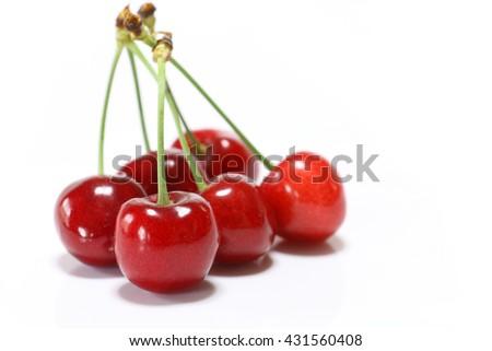 Japanese perfect ripe cherry in white #2 - stock photo