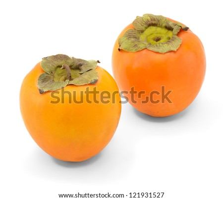 Japanese persimmon fruits on white background