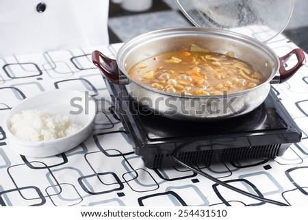 Japanese pork curry with steam rice / cooking Japanese pork curry paste concept  - stock photo