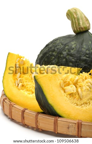 Japanese pumpkin on white background