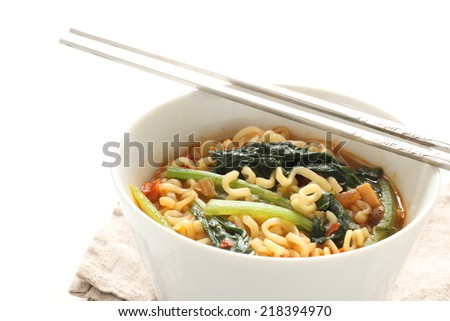 Japanese ramen noodle with Komatsuna green leaf vegetable - stock photo